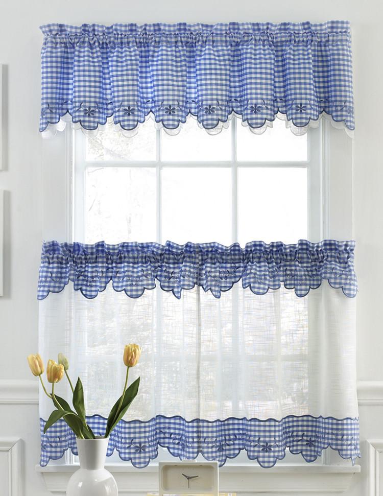 Blue Kitchen Curtains  Provence Kitchen Curtains Blue Lorraine Sheer