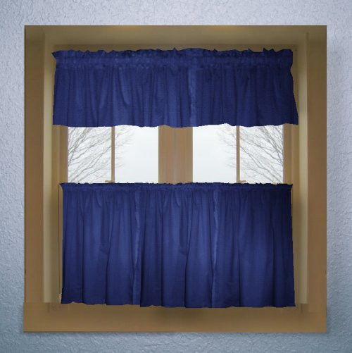 Blue Kitchen Curtains  Solid Royal Blue Colored Café Style Curtain includes 2