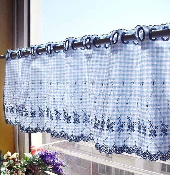 Blue Kitchen Curtains  ELegant Blue Gingham with Embroidery Flower Kitchen