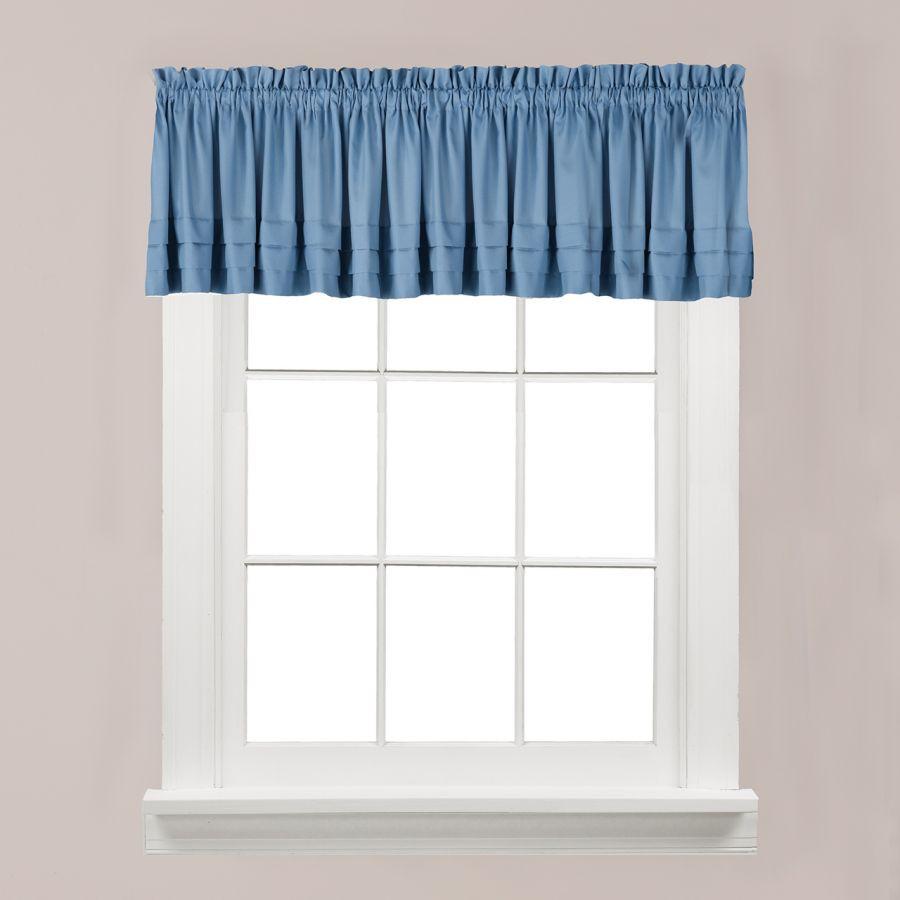 Blue Kitchen Curtains  Saturday Knight Holden Solid Smoke Blue Kitchen Curtain