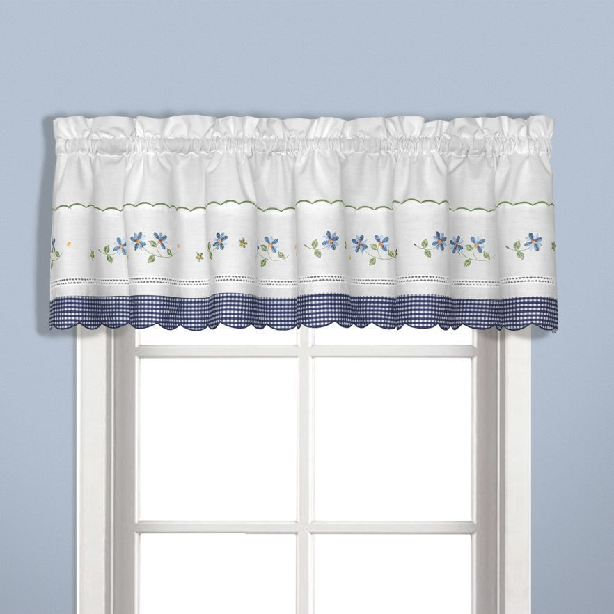 Blue Kitchen Curtains  United Curtain Gingham Blue Kitchen Curtain Window Treatments