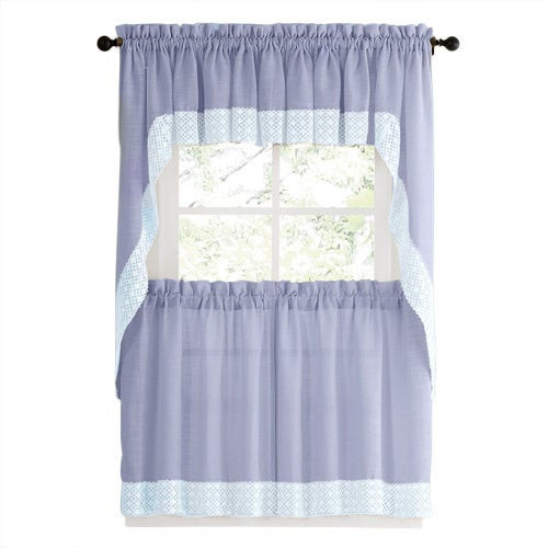 Blue Kitchen Curtains  Blue Country Style Kitchen Curtains with White Daisy Lace