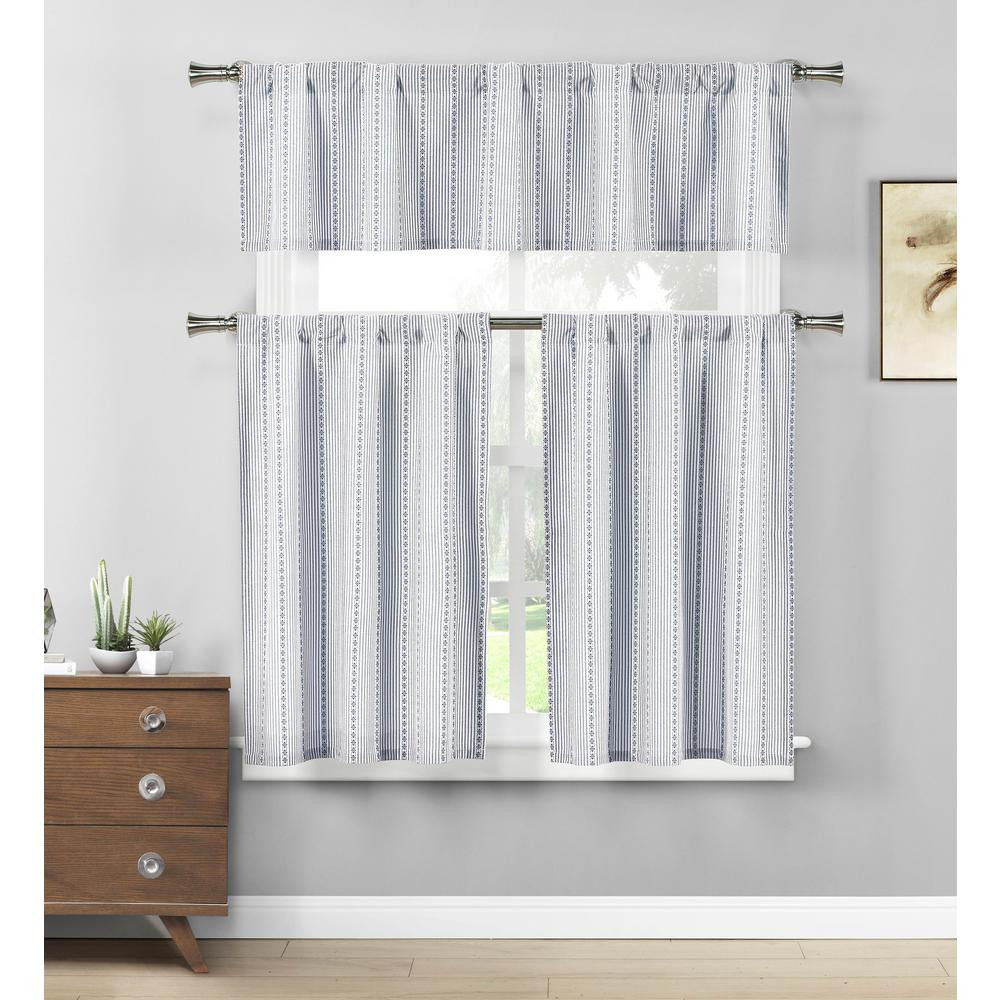 Blue Kitchen Curtains  Duck River Kylie Jeans Blue White Kitchen Curtain Set 58