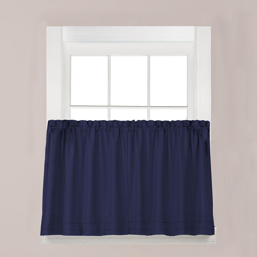Blue Kitchen Curtains  Saturday Knight Holden Solid Navy Blue Kitchen Curtain