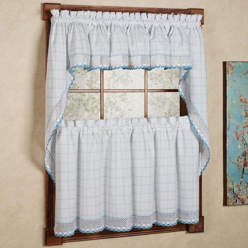 Blue Kitchen Curtains  Adirondack Cotton Kitchen Window Curtains White Blue