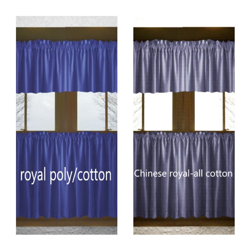 Blue Kitchen Curtains  Solid Royal Blue Cotton Kitchen Tier Cafe Curtains