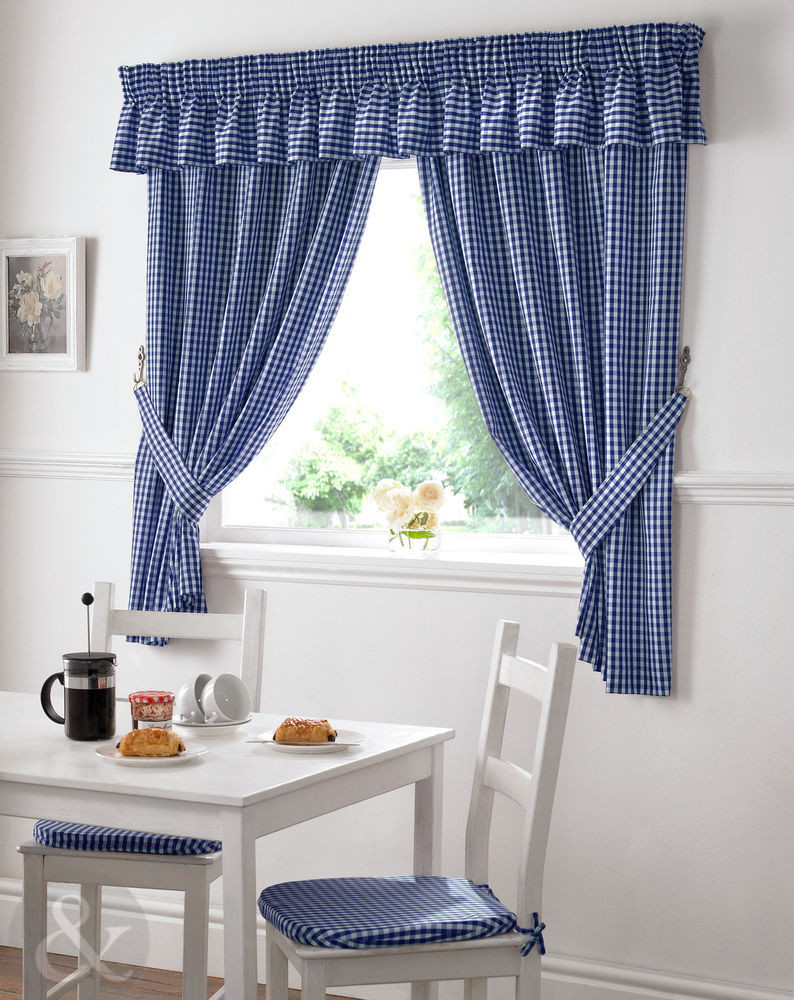 Blue Kitchen Curtains  Gingham Check Kitchen Curtains Ready Made Pencil Pleat