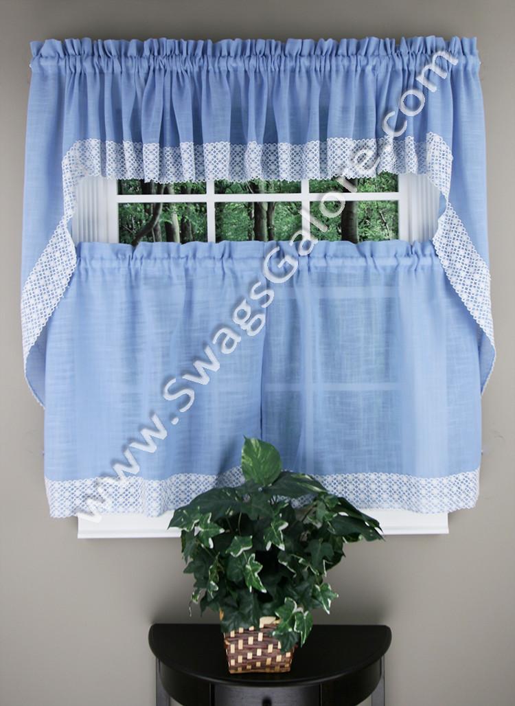 Blue Kitchen Curtains  Salem Kitchen Curtains Blue Lorraine Country Kitchen