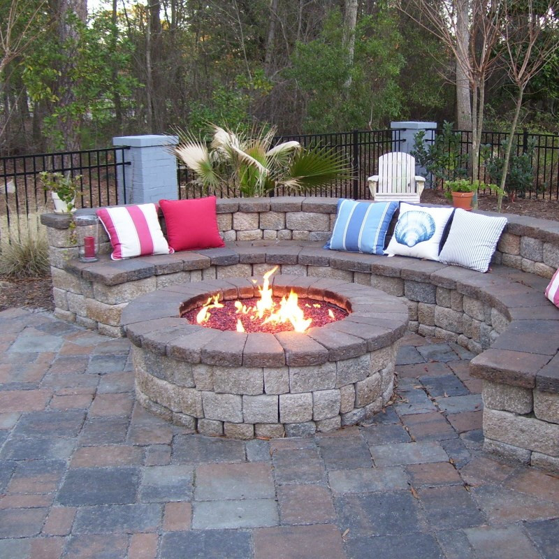Built In Firepit  Custom Gas Burning Firepit with glass Coastroad line