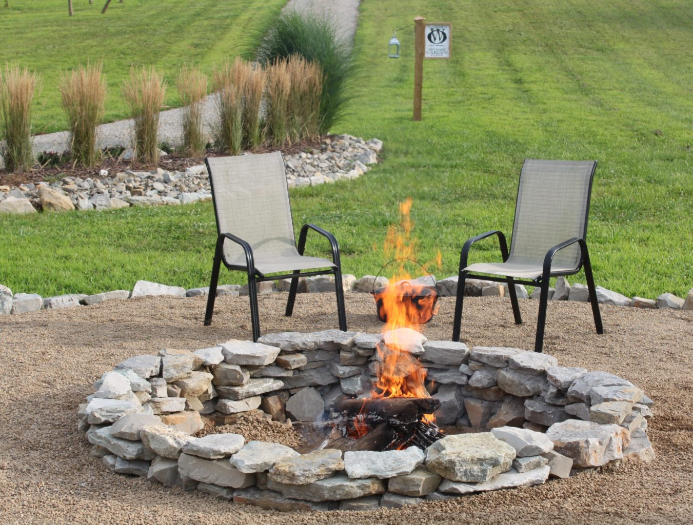 Built In Firepit  The pleted Stone Fire Pit Project How We Built It for