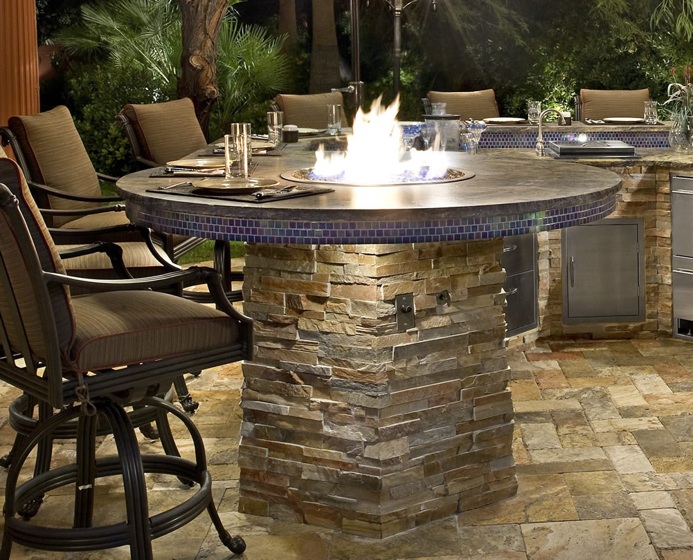 Built In Firepit  Fire Pit Built In to Barbecue Island