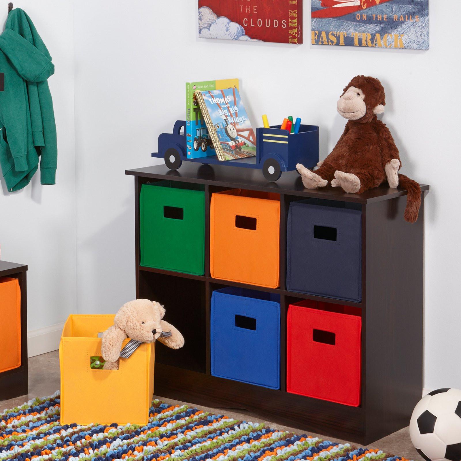 Childrens Storage Cabinet  RiverRidge Kids 6 Bin Storage Cabinet Espresso Toy