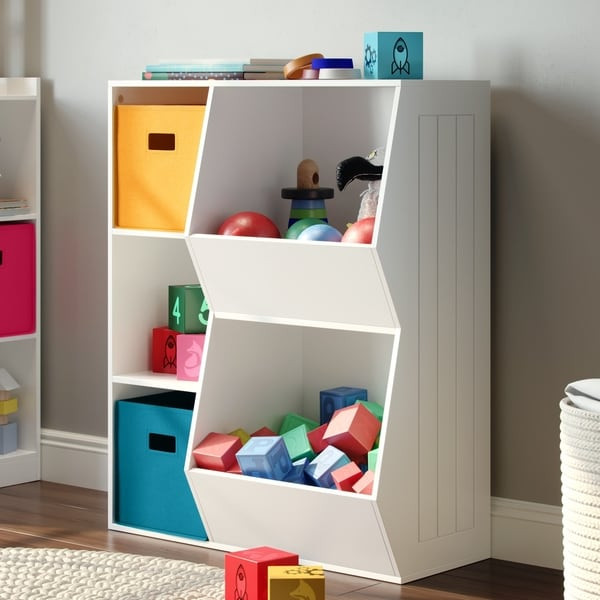 Childrens Storage Cabinet  Shop RiverRidge Kids 3 Cubby 2 Veggie Bin Floor Cabinet