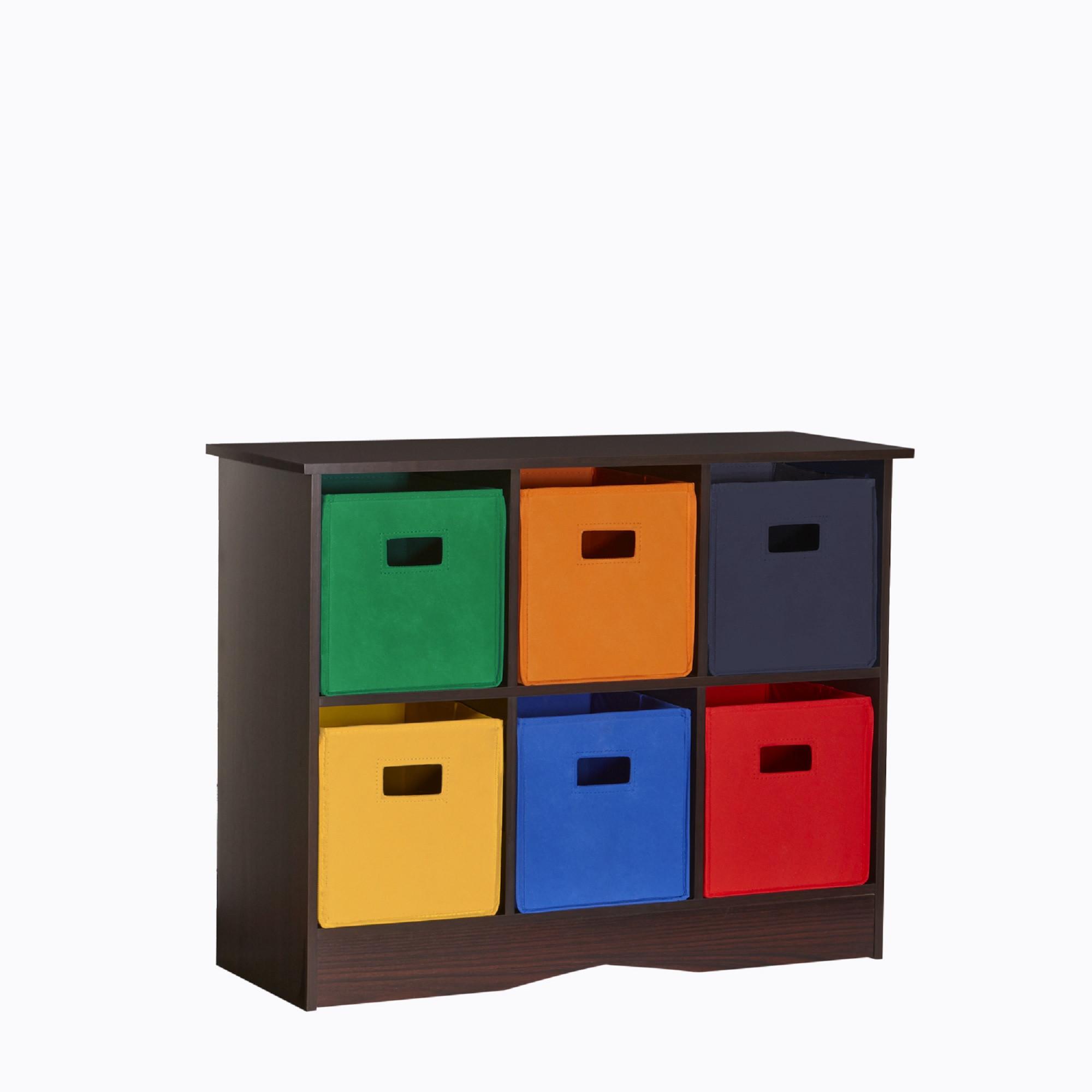 Childrens Storage Cabinet  RiverRidge Kids 6 Bin Storage Cabinet Espresso Primary