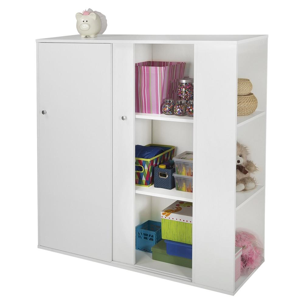 Childrens Storage Cabinet  Storit Kids Storage Cabinet 2 Sliding Doors Pure White