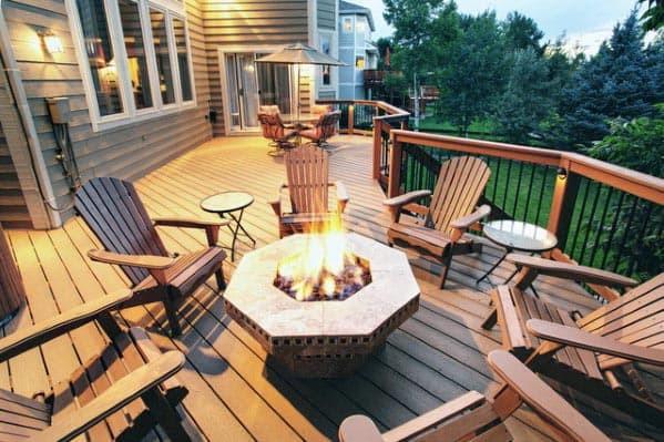 Deck Safe Fire Pits  Top 50 Best Deck Fire Pit Ideas Wood Safe Designs