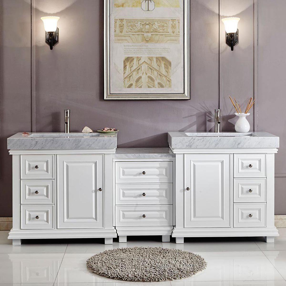 "Double Bathroom Sinks Fresh 90"" Modern Double Bathroom Vanity White"