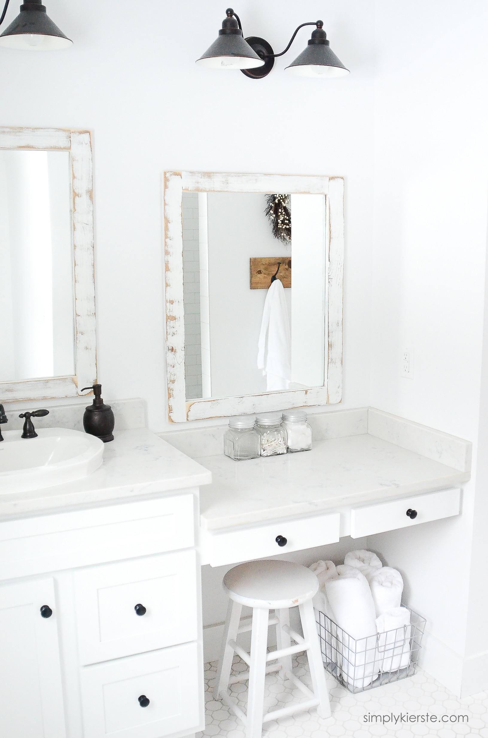 Farmhouse Bathroom Mirrors  Farmhouse Bathroom DIY Framed Mirrors Simply Kierste