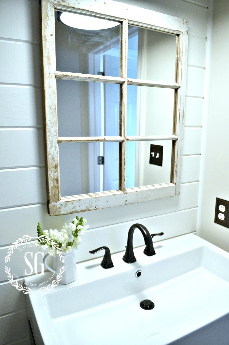 Farmhouse Bathroom Mirrors  FARMHOUSE POWDER ROOM REVEAL StoneGable