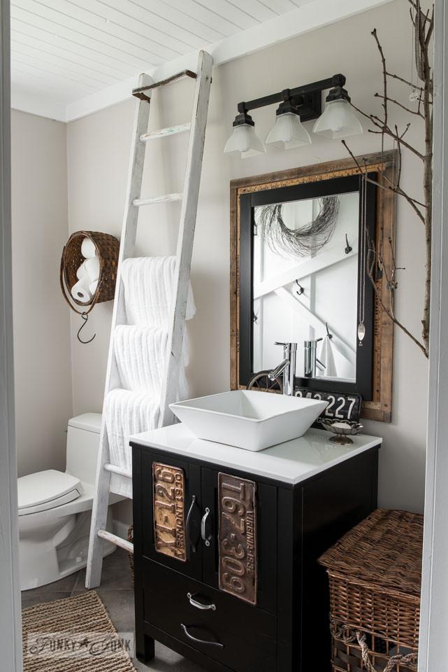 Farmhouse Bathroom Mirrors  Salvaged farmhouse bathroom makeover with vintage