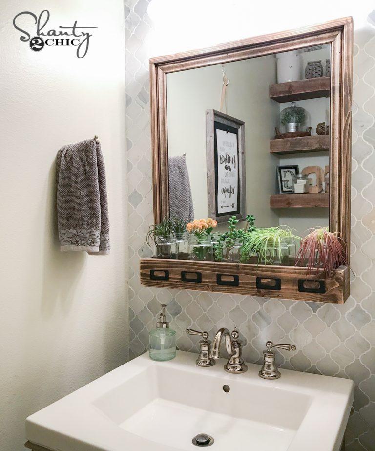 Farmhouse Bathroom Mirrors  DIY Farmhouse Storage Mirror and Video Tutorial