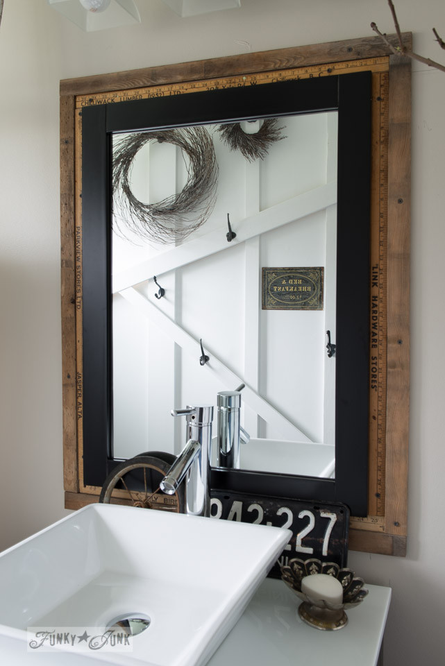 Farmhouse Bathroom Mirrors  Yardstick mirror frame Salvaged farmhouse bathroom