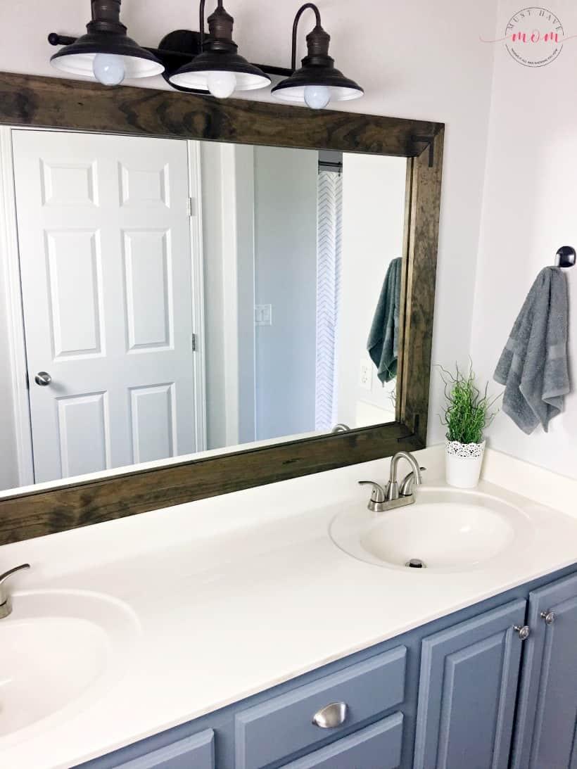 Farmhouse Bathroom Mirrors  Farmhouse Style DIY Vanity Mirrors Tutorial Must Have Mom