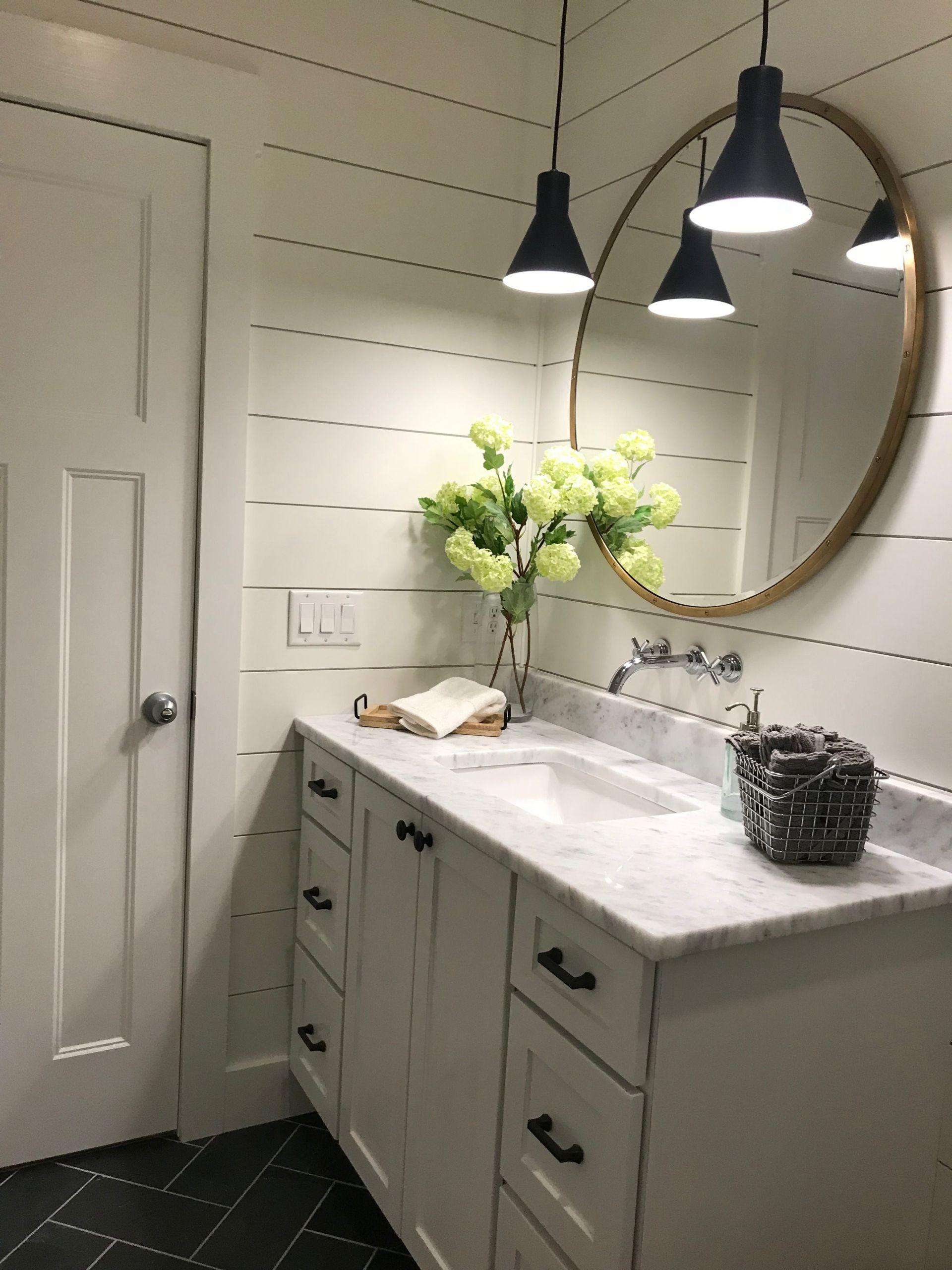 Farmhouse Bathroom Mirrors  Shiplap modern farmhouse round mirror brass