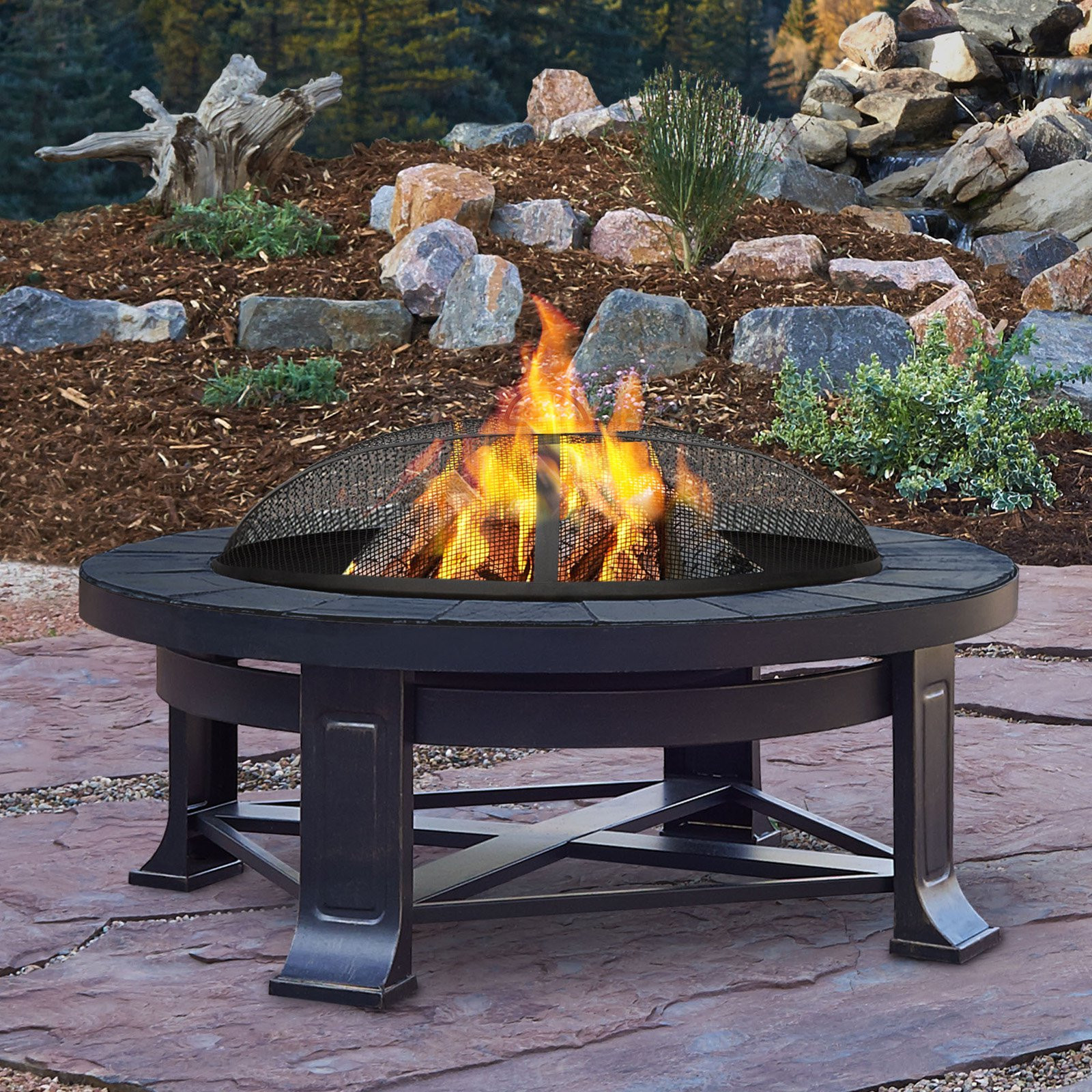 Fireplace Fire Pit  Real Flame Edwards Wood Burning Fire Pit Fire Pits at