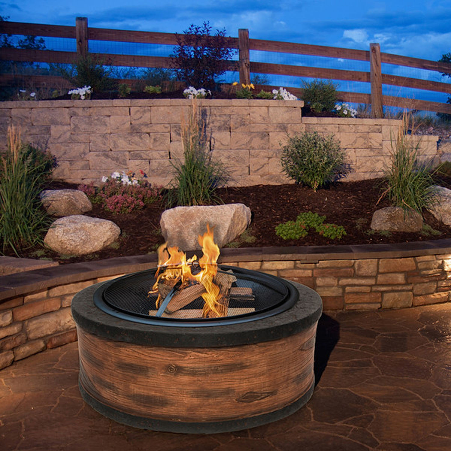 Fireplace Fire Pit  Round Fire Pit Wood Burning Fireplace Outdoor Patio Garden