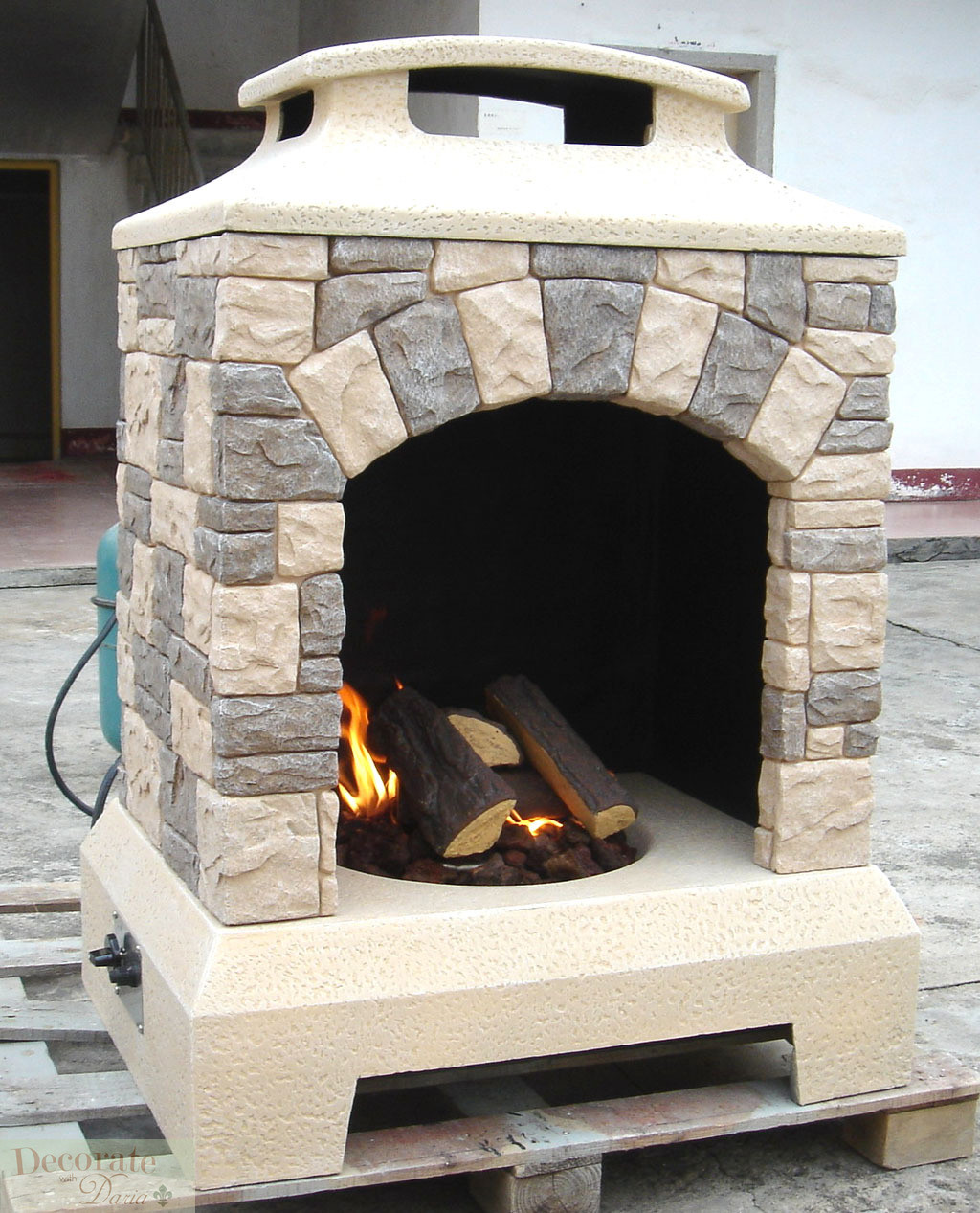 Fireplace Fire Pit  GAS FIREPLACE FIRE PIT OUTDOOR TUSCAN STYLE STONE w Logs