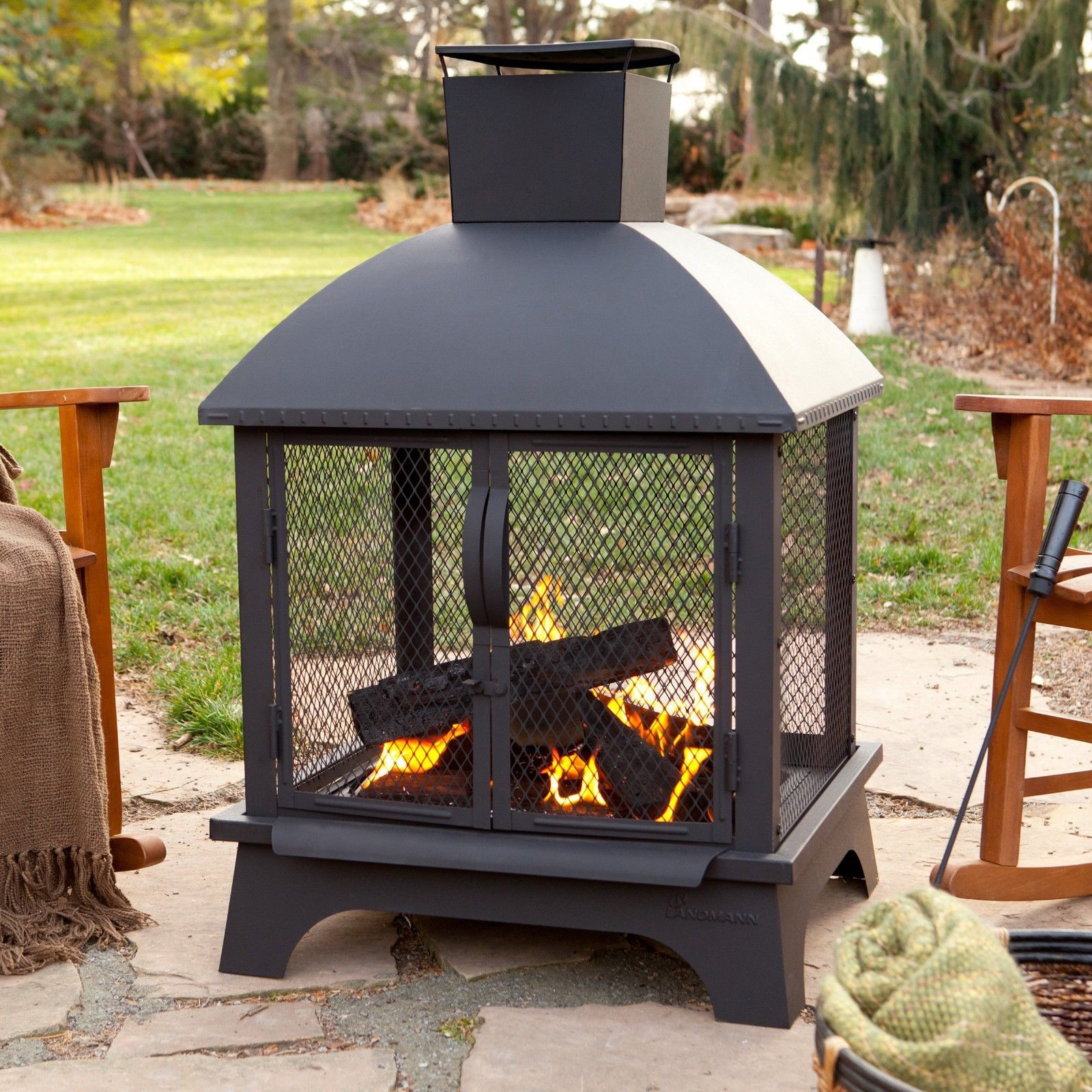 Fireplace Fire Pit  Outdoor Patio Fireplace Wood Burning Fire Pit Chiminea