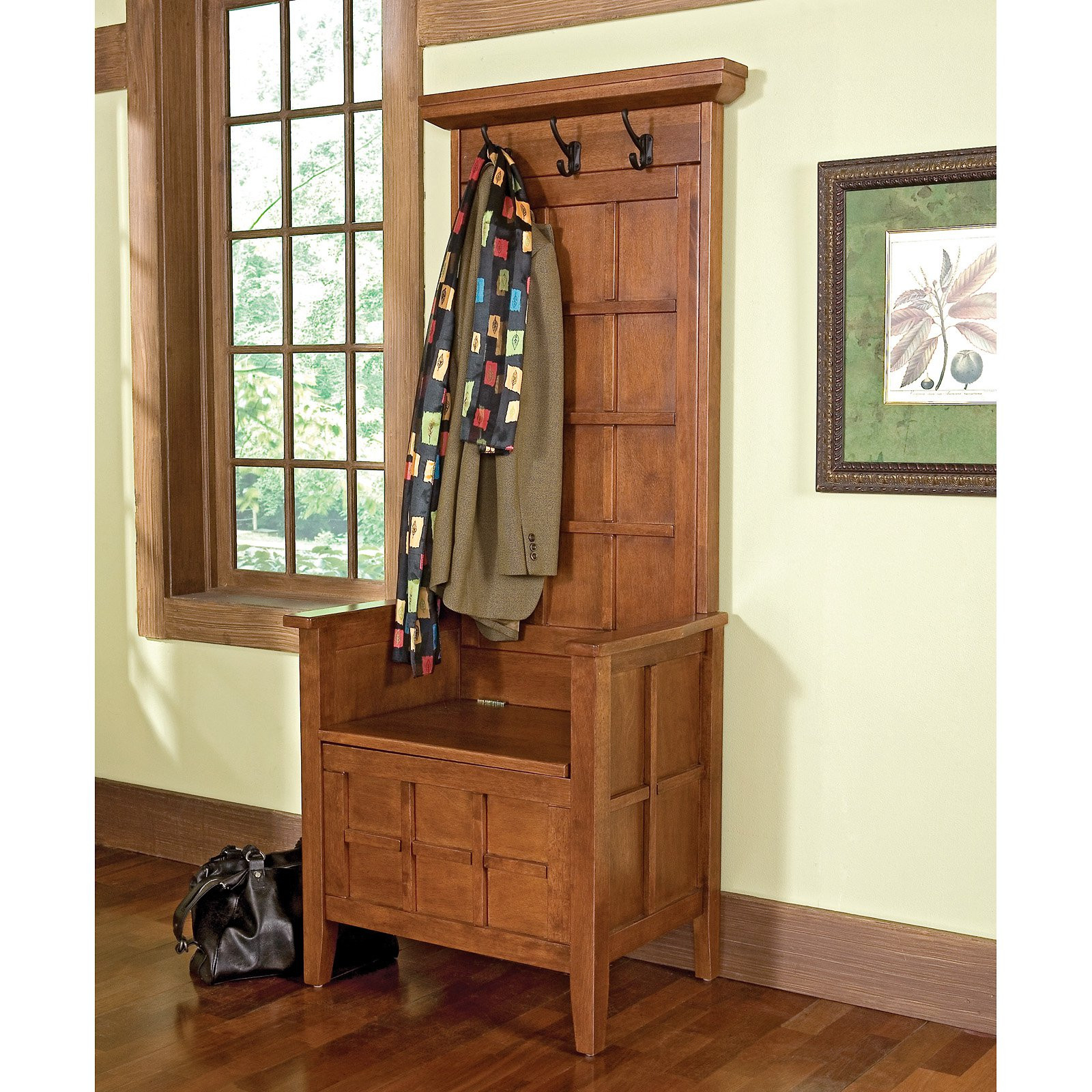 Hall Tree With Storage Bench  Home Styles Cottage Oak Mini Hall Tree & Storage Bench at