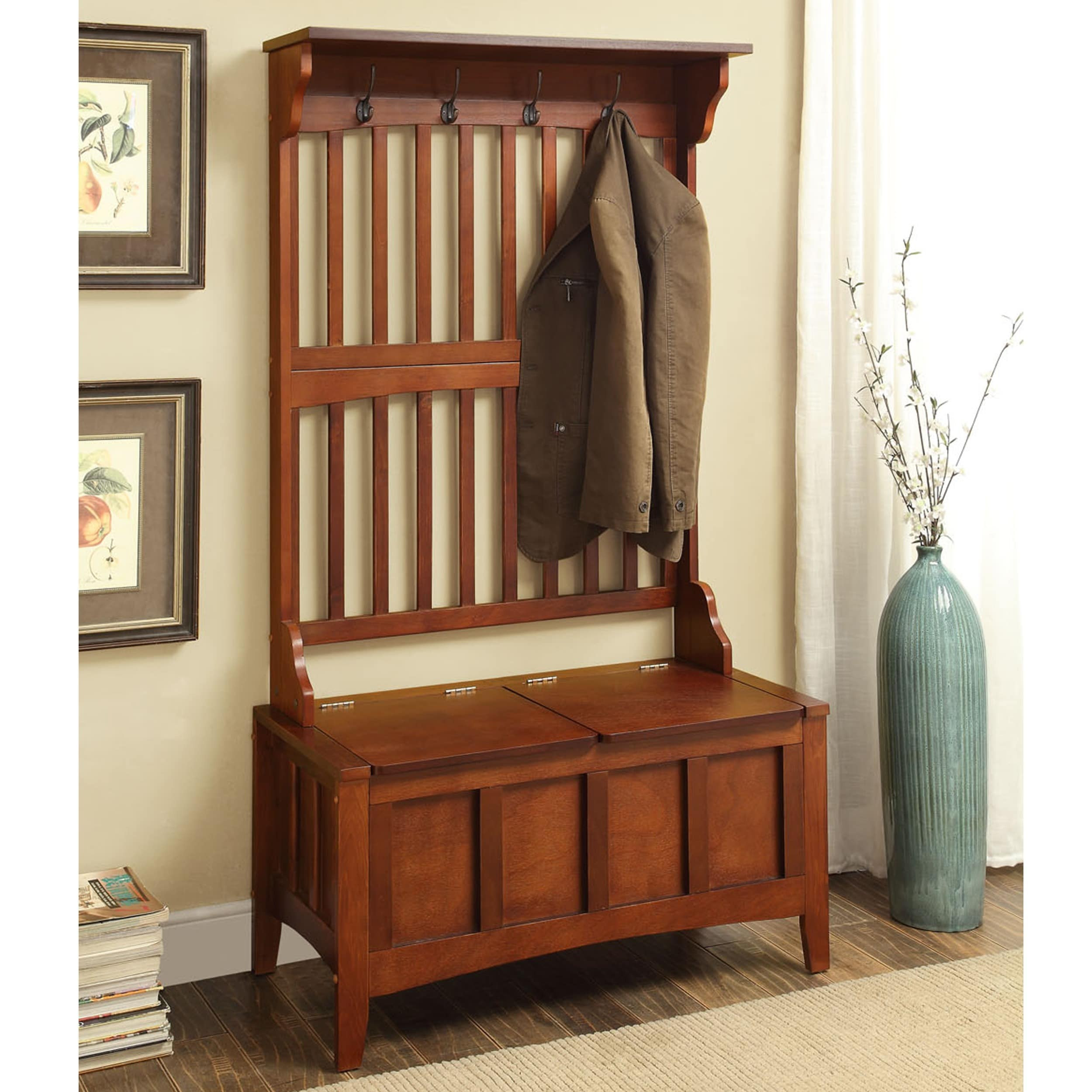Hall Tree With Storage Bench  Shop Oh Home Eloise Entryway Hall Tree with Split Seat