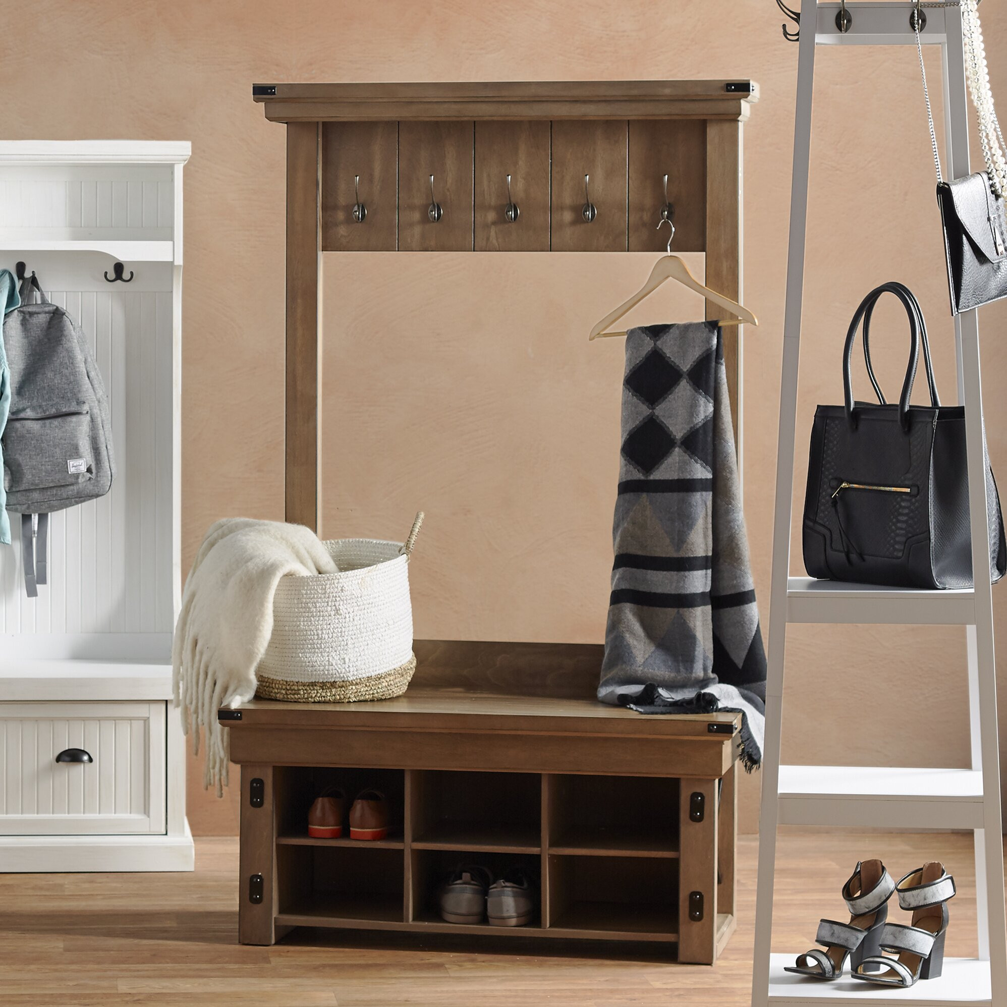Hall Tree With Storage Bench  August Grove Irwin Wood Veneer Entryway Hall Tree with
