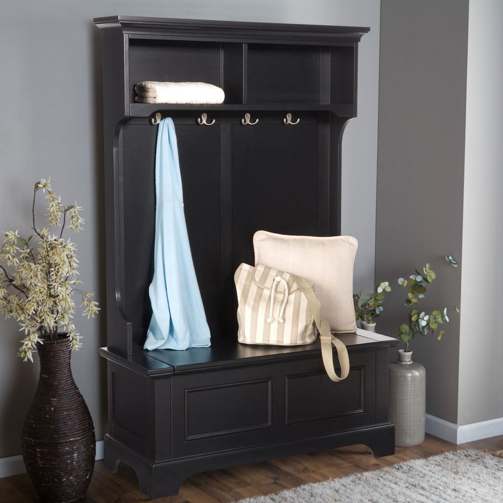 Hall Tree With Storage Bench  Homestyles Bedford 4 Hook Hall Tree With Storage Bench
