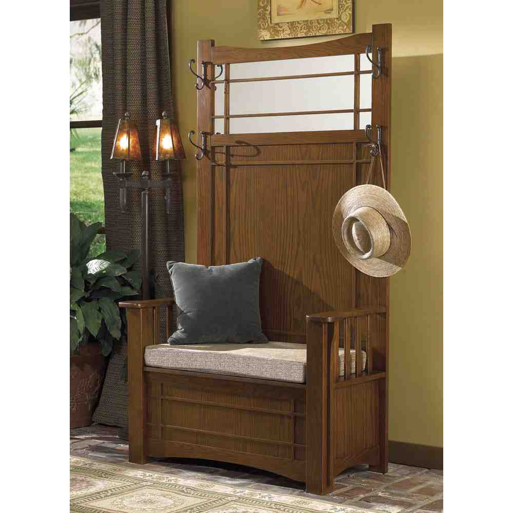 Hall Tree With Storage Bench  Entryway Hall Tree with Storage Bench Home Furniture Design