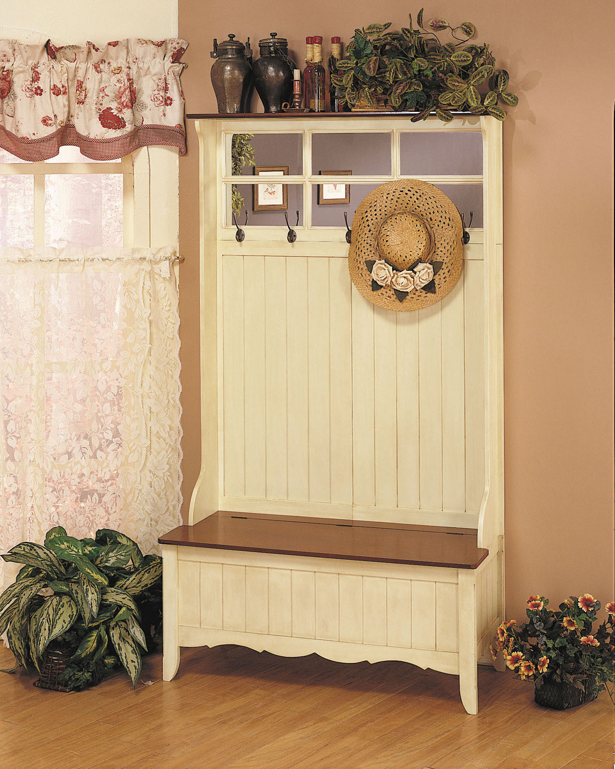 Hall Tree With Storage Bench  Powell French Country Hall Tree with Storage Bench by OJ