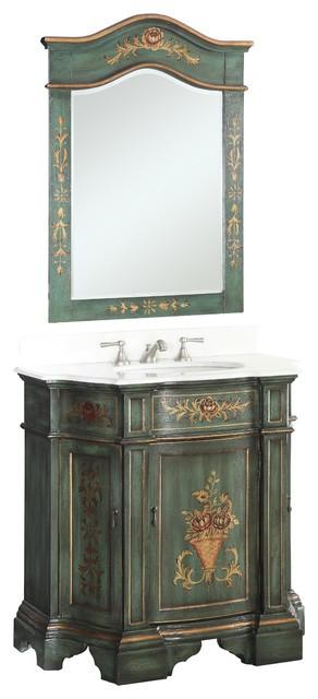 """Hand Painted Bathroom Vanity  35"""" Hand Painted Dark Green Crossfield Bathroom Sink"""