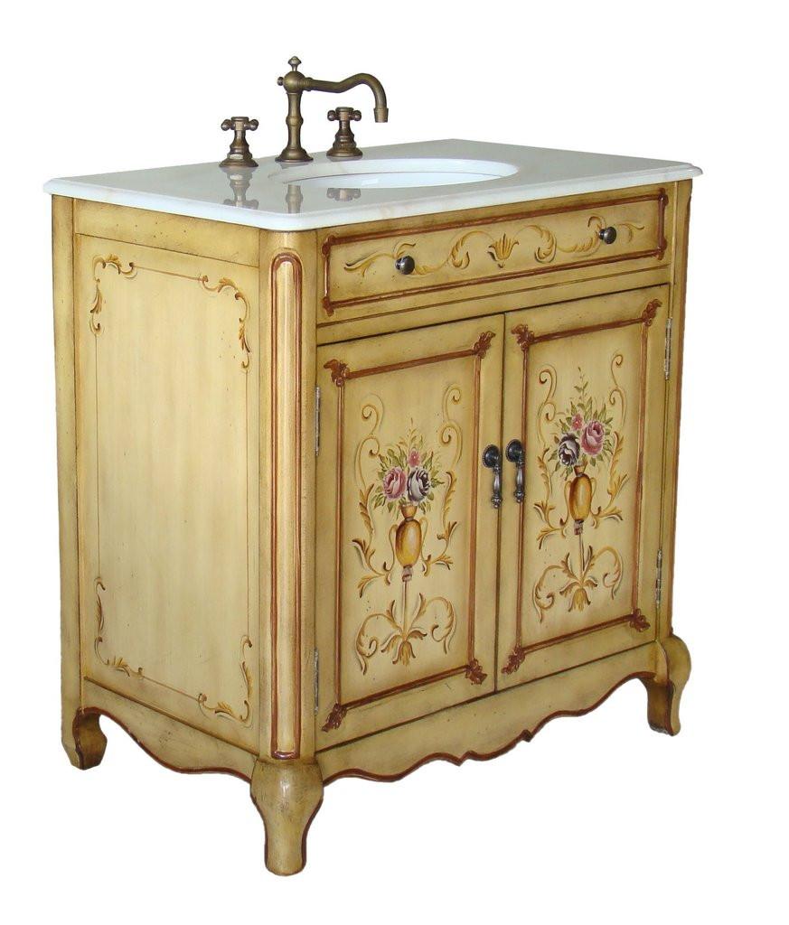"""Hand Painted Bathroom Vanity  32"""" Hand Painted Foral design Camarin Bathroom Sink Vanity"""