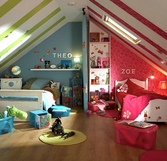 How To Divide A Shared Kids' Room  Use Color to Divide Kids Rooms