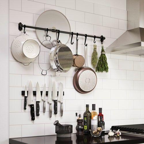 """Ikea Kitchen Hanging Storage  FINTORP Rail black 31 """" 79 cm in 2020"""
