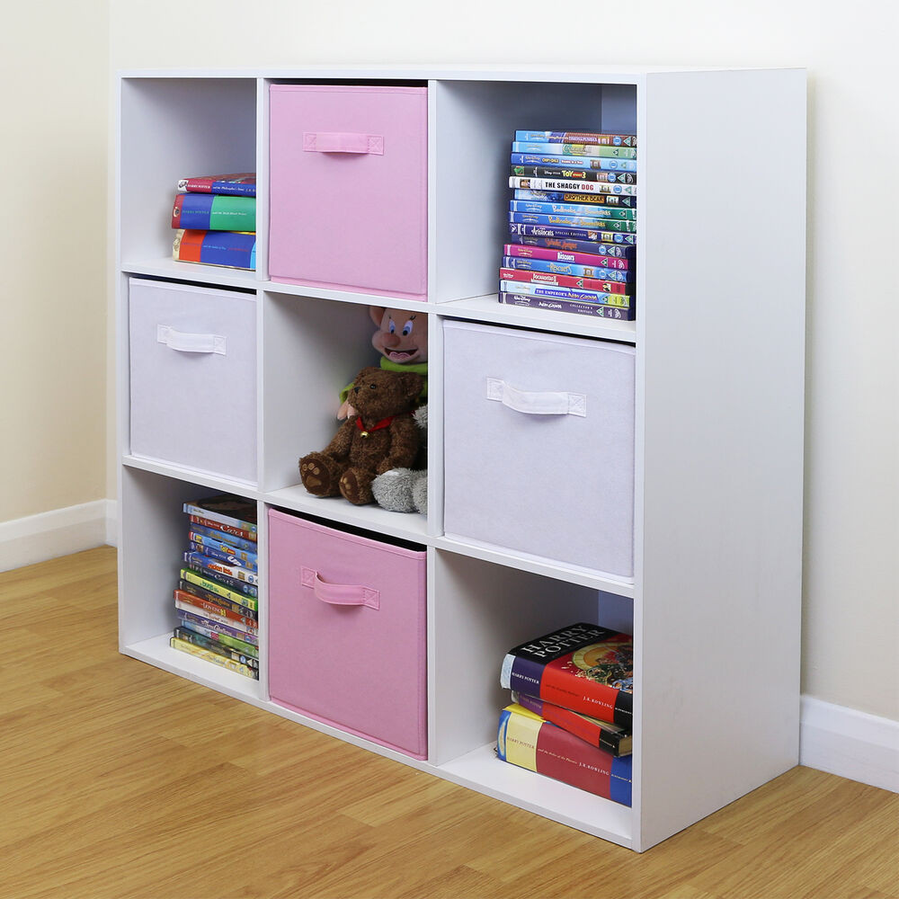 Kids Bedroom Storage  9 Cube Kids Pink & White Toy Games Storage Unit Girls Boys
