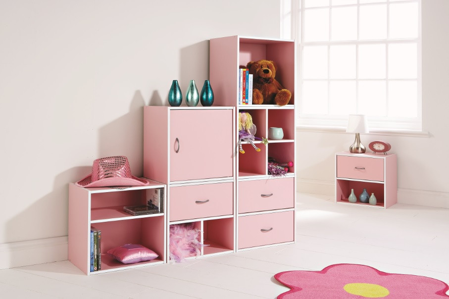 Kids Bedroom Storage  Kids Bedroom Storage Cube System Pink Shelving System 1