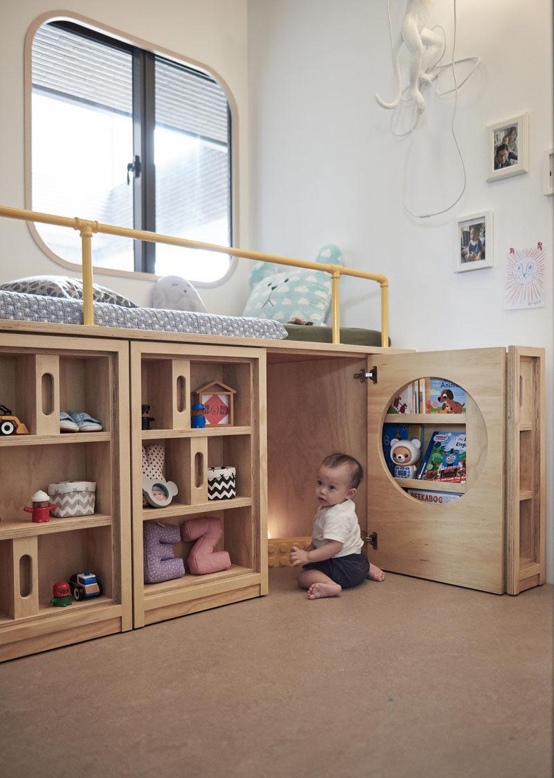Kids Bedroom Storage  Design Detail This Children s Bedroom Has A Custom Bed