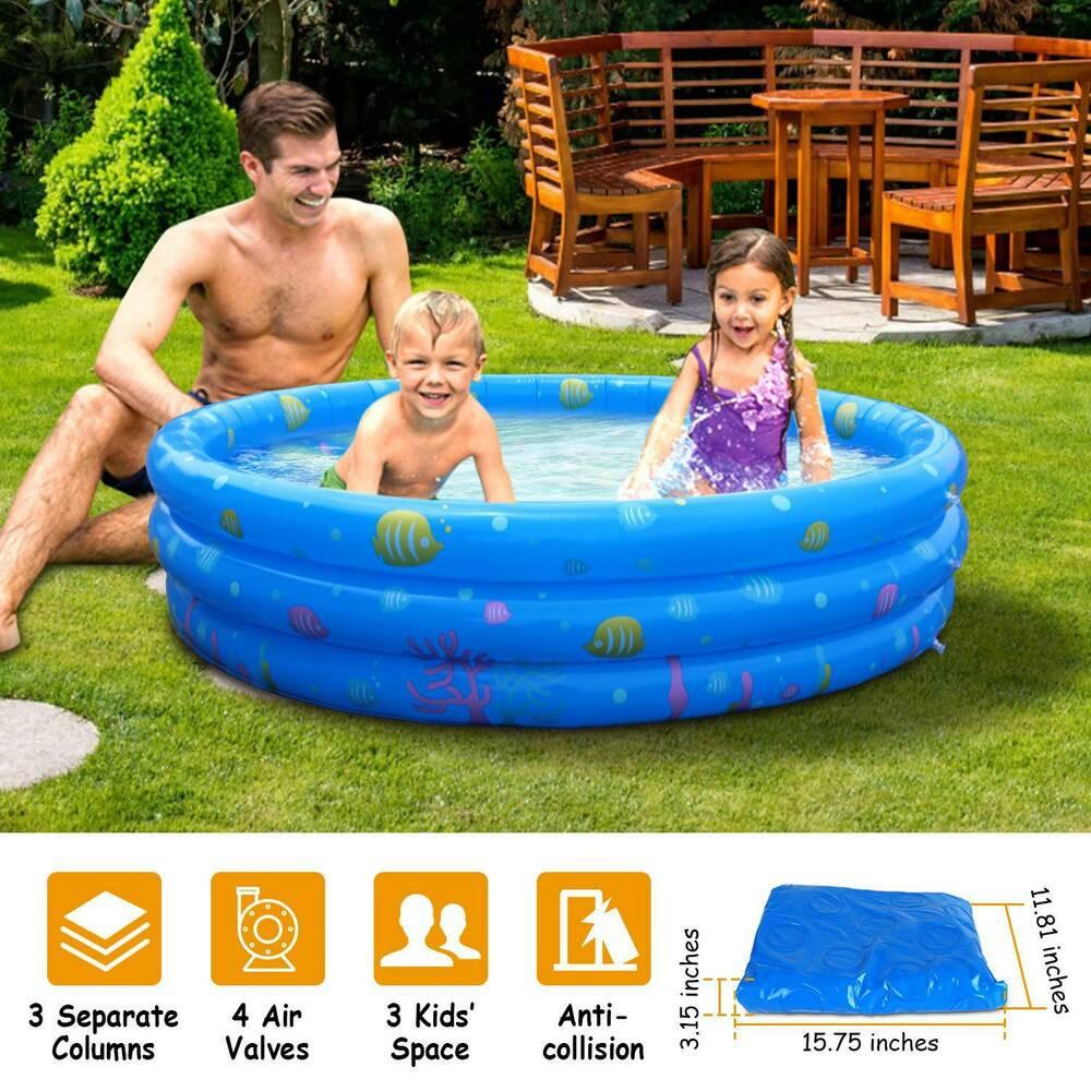 Kids Outdoor Swimming Pool  130 x 33cm Outdoor Inflatable Kids Swimming Pool Swim