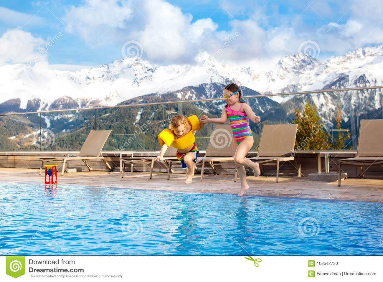 Kids Outdoor Swimming Pool  Kids In Outdoor Swimming Pool Alpine Resort Stock