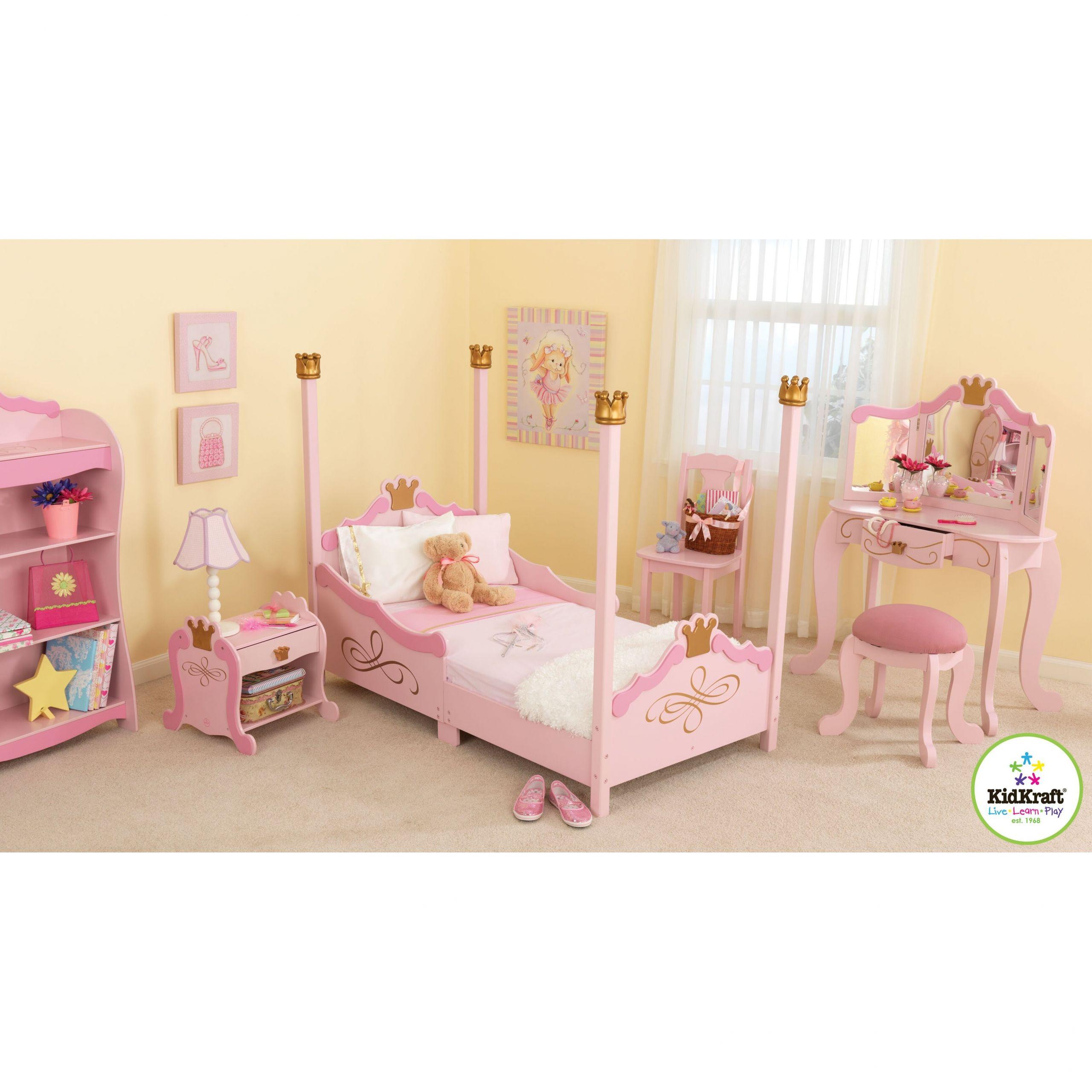 Kids Princess Room  KidKraft Princess Toddler Four Poster Customizable Bedroom
