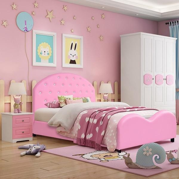 Kids Princess Room  Shop Costway Kids Children PU Upholstered Platform Wooden