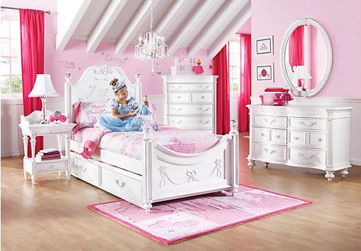 Kids Princess Room  Disney Princess White Twin Poster Bedroom Contemporary